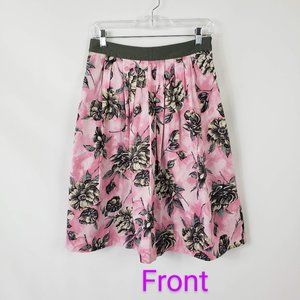 Odille Anthropologie Pink/Gray Floral Pleat Skirt